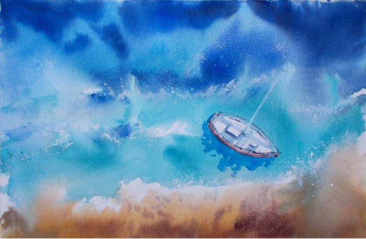 """Painting titled """"boats 57"""" by Giorgio Gosti, Original Art, Watercolor"""