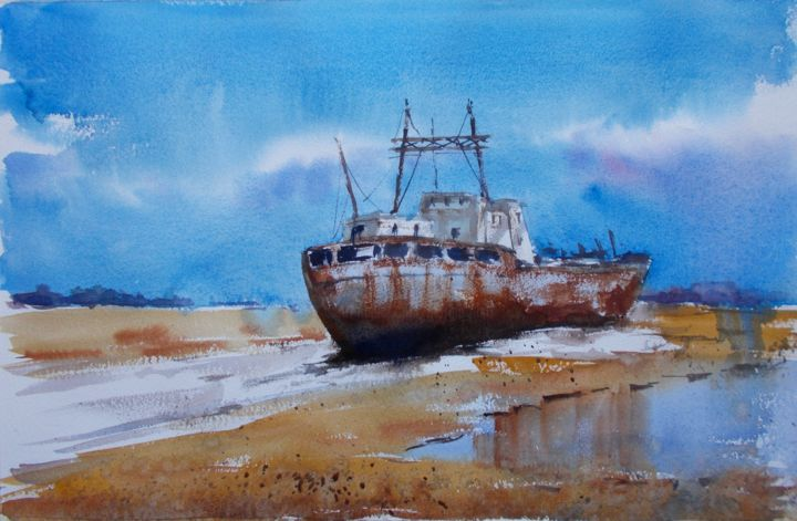 """Painting titled """"ship wreck 3"""" by Giorgio Gosti, Original Art, Watercolor"""