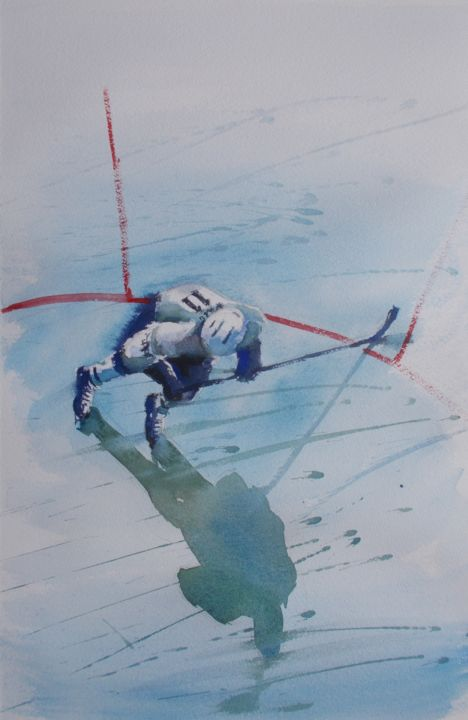 """Painting titled """"hockey player 4"""" by Giorgio Gosti, Original Art, Watercolor"""