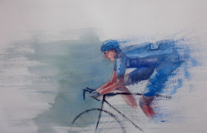 """Painting titled """"cycling 5"""" by Giorgio Gosti, Original Art, Watercolor"""
