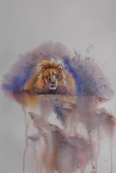 """Painting titled """"lion 3"""" by Giorgio Gosti, Original Art, Watercolor"""