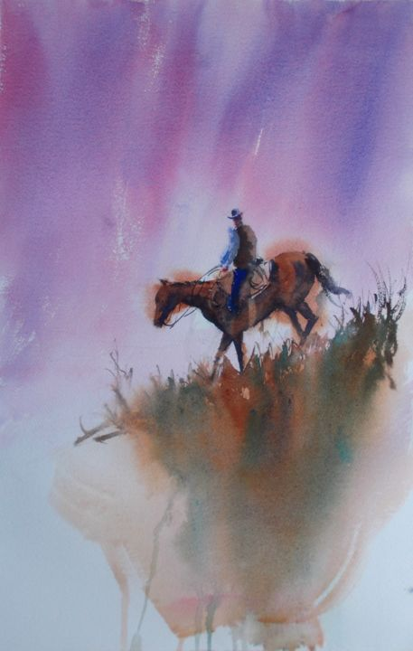 """Painting titled """"cowboy 6"""" by Giorgio Gosti, Original Art, Watercolor"""