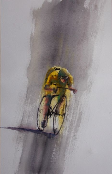 """Painting titled """"cycling 7"""" by Giorgio Gosti, Original Art, Watercolor"""