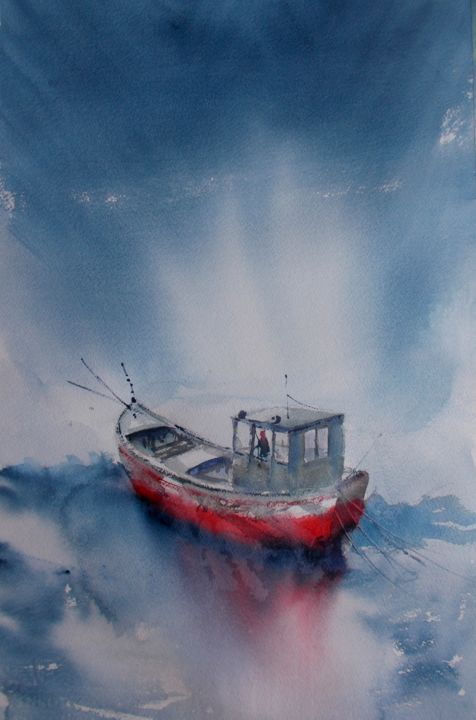 """Painting titled """"boats 59"""" by Giorgio Gosti, Original Art, Watercolor"""
