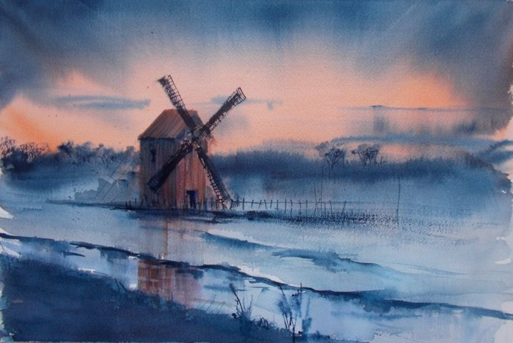 """Painting titled """"windmill 4"""" by Giorgio Gosti, Original Art, Watercolor"""