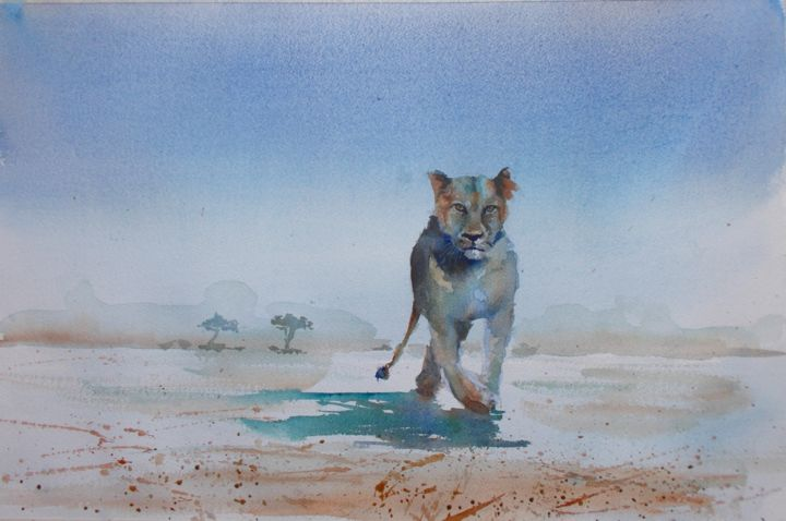"""Painting titled """"lioness 2"""" by Giorgio Gosti, Original Art, Watercolor"""