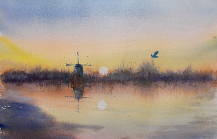 """Painting titled """"windmill 5"""" by Giorgio Gosti, Original Art, Watercolor"""
