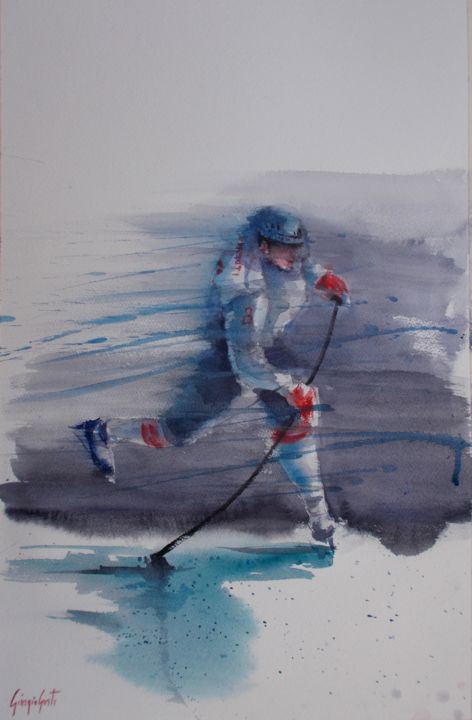 """Painting titled """"hockey player 5"""" by Giorgio Gosti, Original Art, Watercolor"""