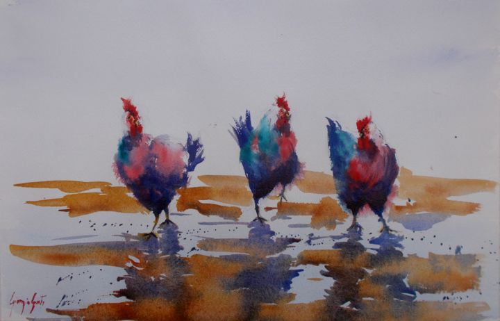 """Painting titled """"roosters and hens 4"""" by Giorgio Gosti, Original Art, Watercolor"""