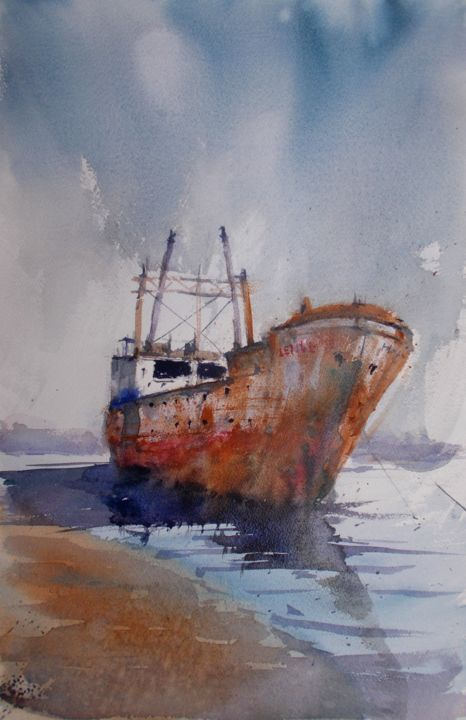 """Painting titled """"ship wreck 4"""" by Giorgio Gosti, Original Art, Watercolor"""