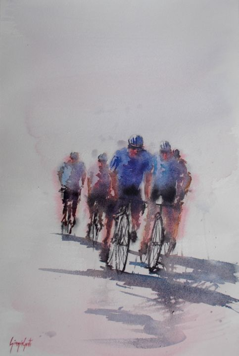"""Painting titled """"the race 4"""" by Giorgio Gosti, Original Art, Watercolor"""