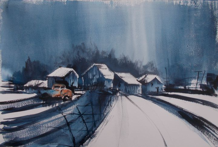 """Painting titled """"countryside landsca…"""" by Giorgio Gosti, Original Art, Watercolor"""