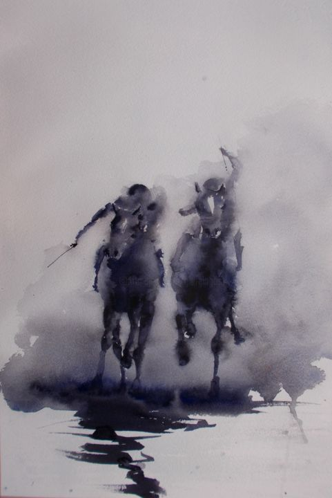 """Painting titled """"the horse race 18"""" by Giorgio Gosti, Original Art, Watercolor"""