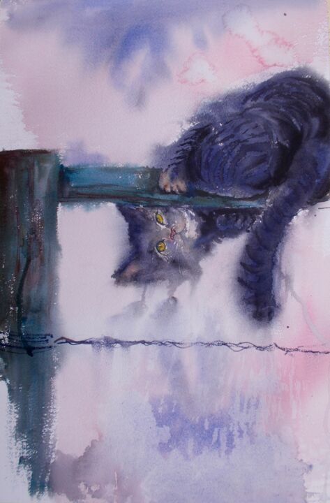 """Painting titled """"kitty 3"""" by Giorgio Gosti, Original Art, Watercolor"""