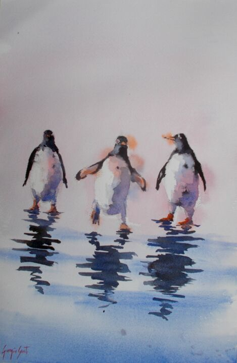 """Painting titled """"penguins"""" by Giorgio Gosti, Original Art, Watercolor"""
