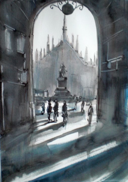 Milan's cathedral - Painting,  15.8x11.8 in, ©2015 by Giorgio Gosti -