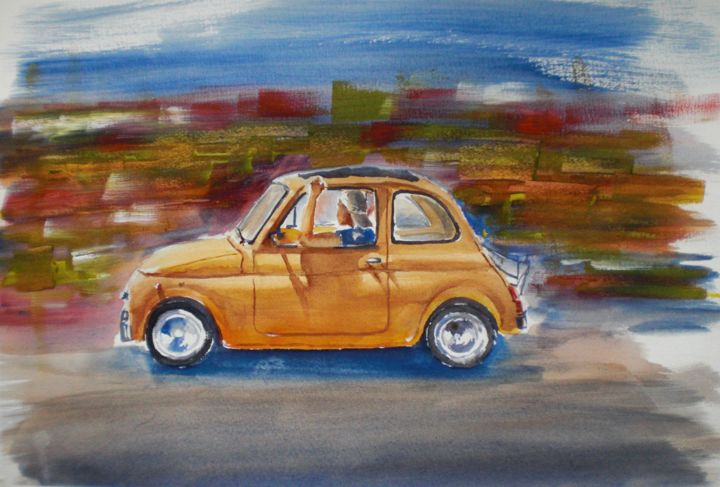 500 - Painting,  12.6x18.1x0.4 in, ©2016 by Giorgio Gosti -                                                                                                                                                                                                                                                                      Figurative, figurative-594, Car, fiat, 500