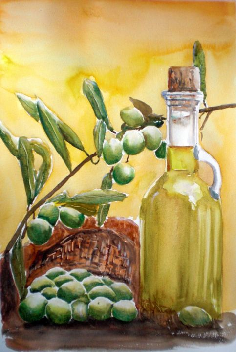 olive oil - Painting,  47x32x1 cm ©2016 by Giorgio Gosti -                                                            Figurative Art, Paper, Still life, still life, olives, olive oil