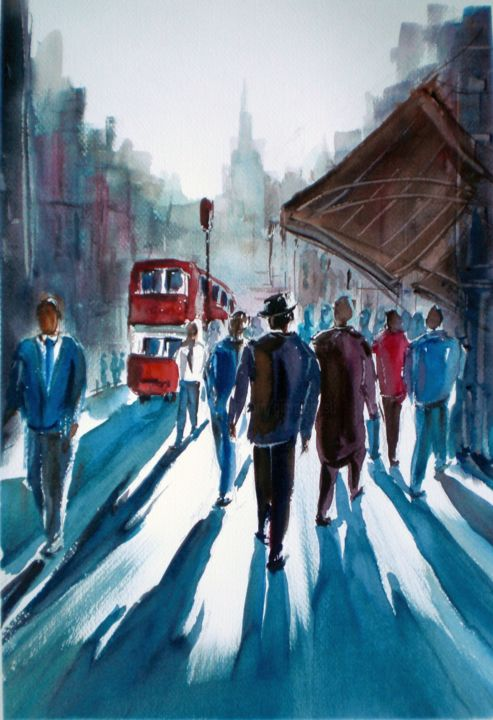 Walking people 2 - Painting,  18.1x12.6x0.4 in, ©2016 by Giorgio Gosti -                                                                                                                                                                                                                                                                      Expressionism, expressionism-591, People, people, cityscape