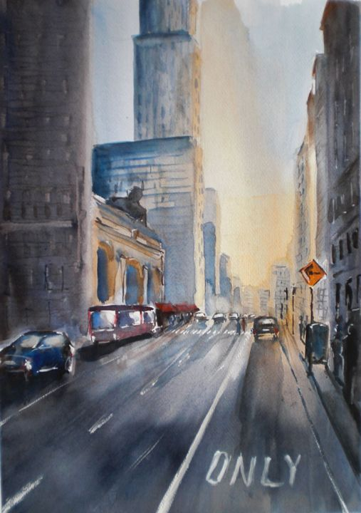 sunset in New York - Painting,  18.1x12.6x0.4 in, ©2016 by Giorgio Gosti -                                                                                                                                                                                                                                                                      Figurative, figurative-594, Cityscape, New York, cityscape
