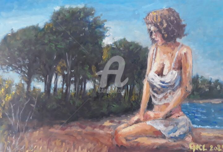 """Painting titled """"Emerging woman"""" by Giorgos Νcl, Original Art, Oil"""