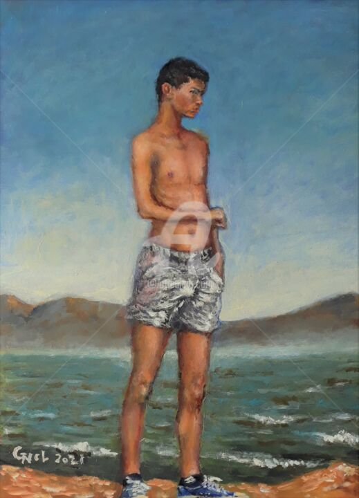 """Painting titled """"Figure105"""" by Giorgos Νcl, Original Art, Oil"""