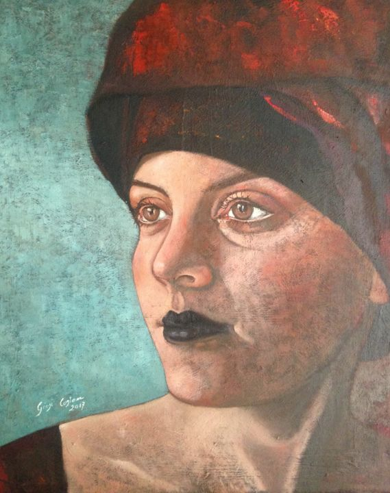 Turbante rosso - Painting,  50x40x1.5 cm ©2017 by Giosi Costan -                                                                                                                                    Figurative Art, Contemporary painting, Folk, Realism, Portraiture, Cotton, Body, People, Portraits, figura, ragazza, turbante, rosso, girl, portrait, realism