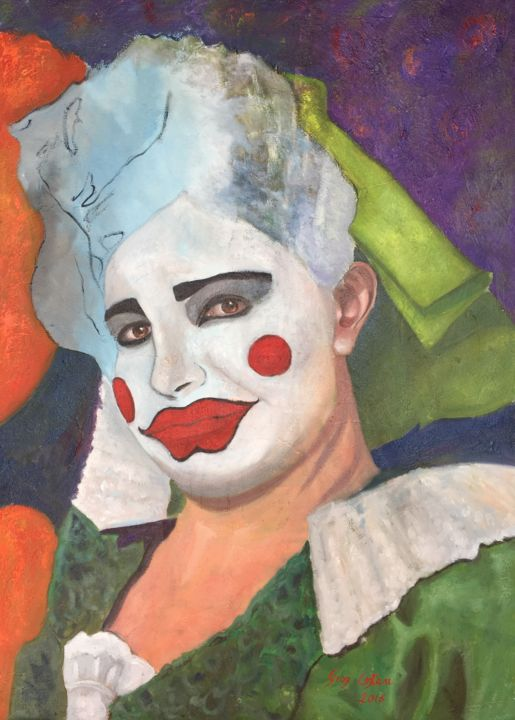 Un giorno qualunque - Painting,  70x50x1.5 cm ©2016 by Giosi Costan -                                                                                                                                                Concrete Art, Figurative Art, Contemporary painting, Realism, Portraiture, Canvas, Performing Arts, Colors, Body, People, oil, painting, canvas, telaio, donna, woman, femme, maschera, musk, teatro, theatre