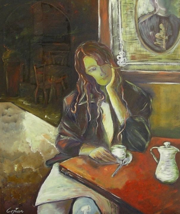 Meditazione - Painting,  23.6x19.7x0.6 in, ©1996 by Giosi Costan -                                                                                                                                                                                                                                                                                                                                                                                                                                                                                                                                                                                                                                      Figurative, figurative-594, Women, Places, People, woman, figura, canvas, interno, intimista, oil, painting, donna