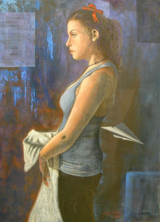 Ragazza con nastro rosso - Painting,  70x50x1.5 cm ©2011 by Giosi Costan -                                                                                                                                                Concrete Art, Figurative Art, Contemporary painting, Realism, Portraiture, Canvas, Body, Women, People, Portraits, woman, girl, origami, ragazza, portrait