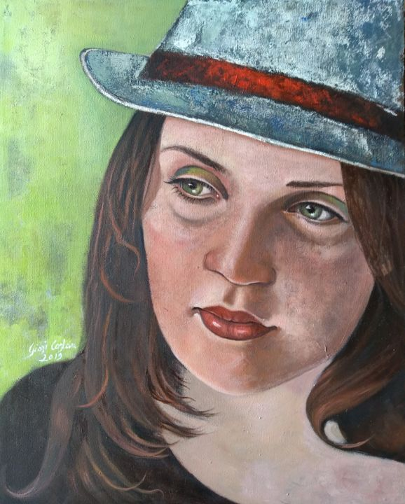 Relax - Painting,  19.7x15.8x0.6 in, ©2019 by Giosi Costan -                                                                                                                                                                                                                                                                                                                                                                                                                                                                                                                                                                                                                                      Figurative, figurative-594, Body, Women, People, Portraits, donna, woman, girl, femme, portrait, figurative, hat
