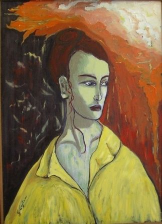 Busto di donna con abito giallo - Painting,  27.6x19.7 in, ©1996 by Giosi Costan -