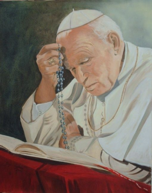 Papa Giovanni Paolo II - Painting,  50x40 cm ©2007 by Giosi Costan -                                                                                                                                                                                    Portraiture, Concrete Art, Figurative Art, Contemporary painting, Realism, Canvas, Celebrity, Body, Pop Culture / celebrity, People, Religion, Portraits, Spirituality, pope, papa, santo, saint, religious, man, church, chiesa