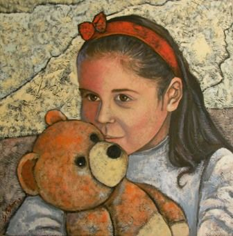 Fefo - Painting,  60x60 cm ©2009 by Giosi Costan -                            Contemporary painting, portrait baby, bimba, bambina, ritratto, orsetto