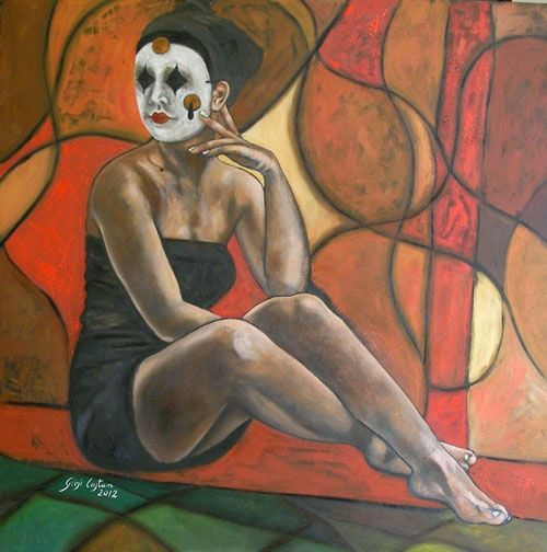 (In)attesa realtà - Painting,  70x70 cm ©2012 by Giosi Costan -                                                            Contemporary painting, Canvas, People, dipinto, originale, portrait, women, oil, figure, artistic girl, ritratto, donna, maschera, mask, original painting, oil painting
