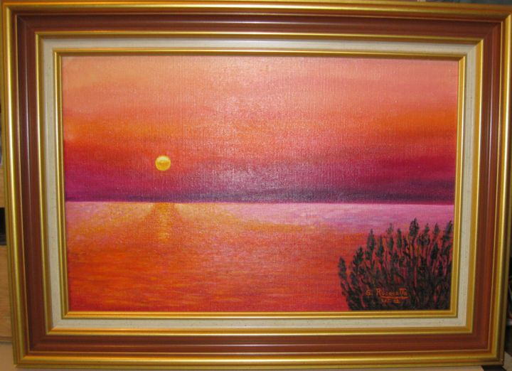 Coucher de soleil - Painting,  14.6x20.1x2.4 in, ©2007 by gisèle ROUQUETTE -                                                                                                                          Figurative, figurative-594