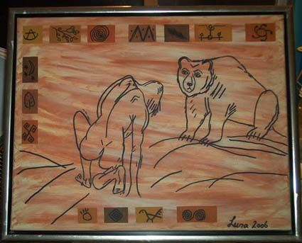"""Painting titled """"Janus and the bear"""" by Luna, Original Art,"""