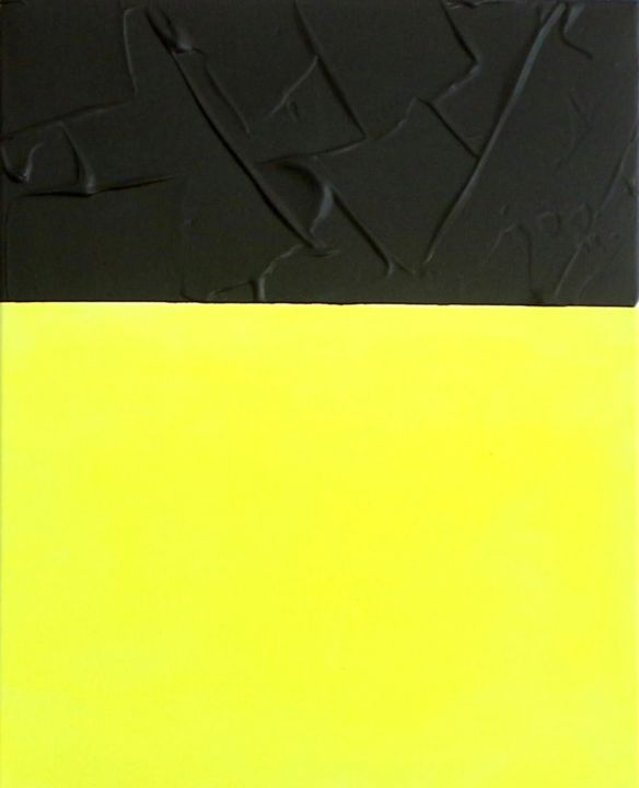 Insta 2 - Painting,  50x40x2 cm ©2019 by Julia Jergh -                                                                                    Abstract Art, Abstract Expressionism, Modernism, Canvas, Abstract Art, jj, julia jergh, yellow, black, abstract, modern, instart