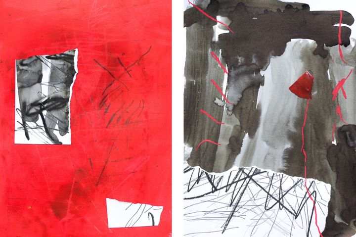 dittico - Painting,  33x48 cm ©2018 by Giulio Benatti -                                                                            Abstract Art, Abstract Expressionism, Conceptual Art, Contemporary painting, Paper