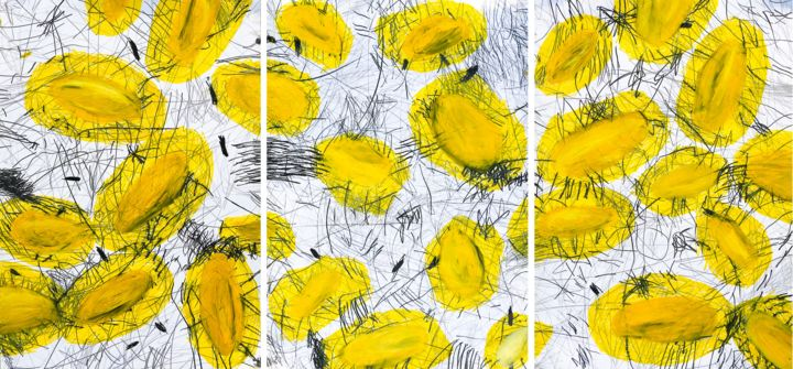 """I fear the stars I don't know""  triptych - Peinture,  39,4x82,7 in, ©2019 par Giulio Benatti -                                                                                                                                                                                                                                                                                                                                                                                                                                                      Abstract, abstract-570, Hommes, Poetry, Giulio Benatti, abstract painting, yellow, art, contemporary art"