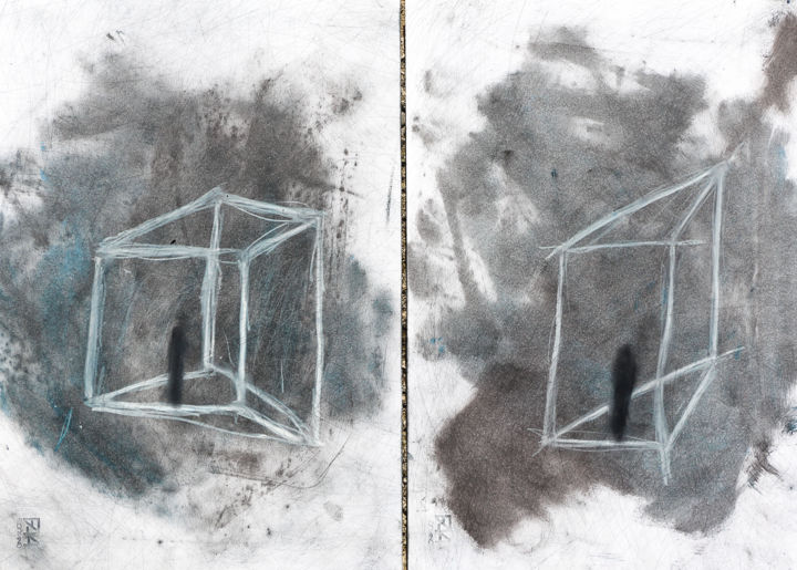 """""""No title"""" (diptych) - Painting,  18.9x26 in, ©2019 by Giulio Benatti -                                                                                                                                                                                                                          Figurative, figurative-594, Men, Giulio Benatti"""
