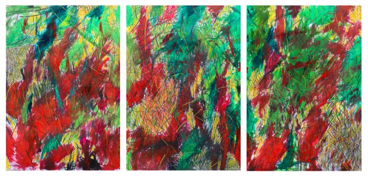 """""""Summary of Creation"""" 5 triptych - Painting,  39.4x82.7 in, ©2020 by Giulio Benatti -                                                                                                                                                                                                                                                                      Abstract, abstract-570, Abstract Art, giulio Benatti, abstraction"""