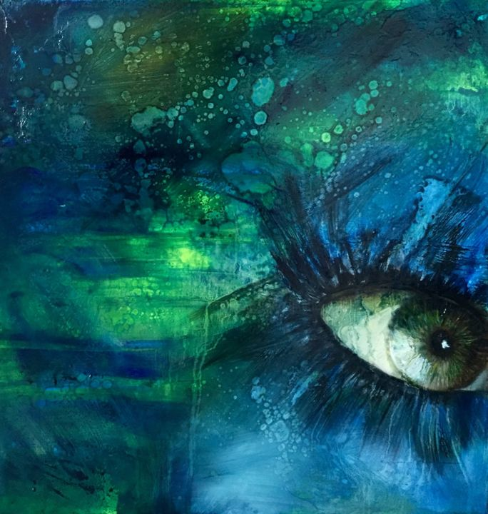 VISION - Painting,  19.7x19.7x0.8 in, ©2019 by Katie Guittard -                                                                                                                                                                                                                                                                                                                                                                                                          Abstract, abstract-570, Abstract Art, Portraits, oeil, regard, nuage, vert