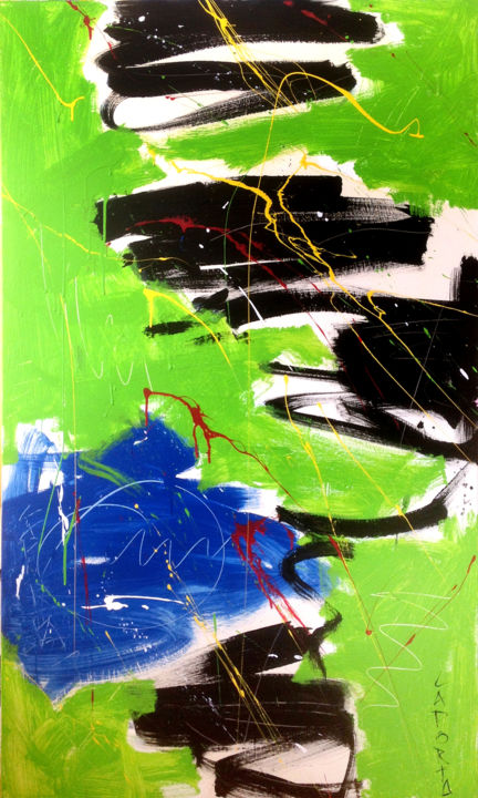 No name.jpg - Painting,  152.4x91.44x2.54 cm ©2016 by Gilbert Laporta -                                        Abstract Art, Colors