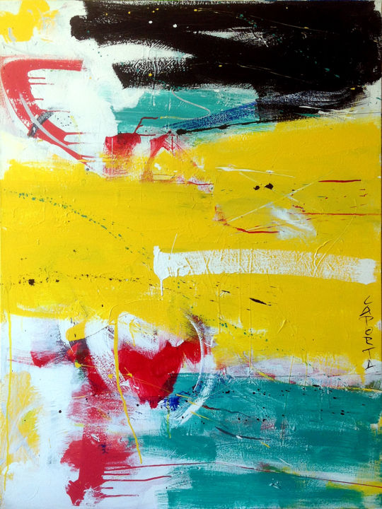 Espace jaune.jpg - Painting,  121.92x91.44x2.54 cm ©2018 by Gilbert Laporta -                                                        Abstract Art, Cotton, Colors