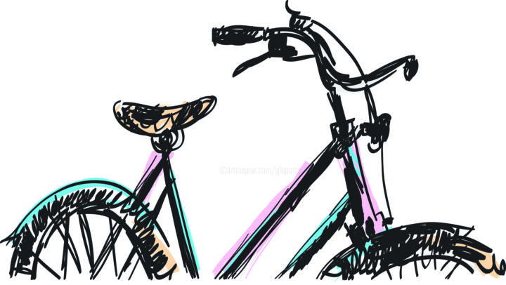 Vélo.jpg - Digital Arts ©2012 by Gilbert Laporta -                            Expressionism, Ligne, Filiforme, Contraste, Bicyclette, Promenade, Illustration, Dessin, Graphisme