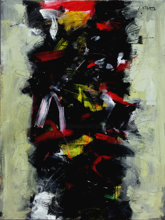 Black Ice.jpg - Painting,  122x92x2.54 cm ©2011 by Gilbert Laporta -                                            Abstract Art, Canvas, Noir, Black, Glace, Ice, Mouvement, Vertical, Grand