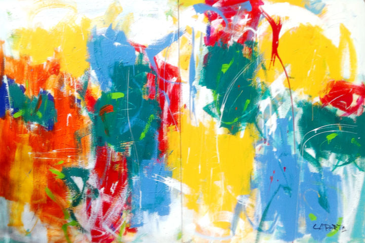 Copacabana.jpg - Painting,  122x183x2.54 cm ©2013 by Gilbert Laporta -                                            Abstract Art, Canvas, F, Joie, Fiesta, Party, Fun, Couleur, Mouvement, Vibrant, Jaune, Bleu, Rouge, Vert, Orange, Horizontale