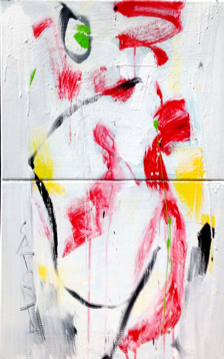 Rouge fébrile.jpg - Painting,  81.44x60.96x2.54 cm ©2019 by Gilbert Laporta -                                                            Abstract Art, Canvas, Abstract Art, Blanc, Rouge, Jaune, Vert, Noir, Lignes, Mouvement, Diptyque, Gris, Clair, Contemporain