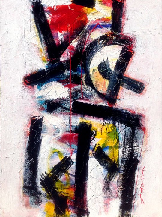 Samouraï.jpg - Painting,  121.92x91.44x2.54 cm ©2019 by Gilbert Laporta -                                                                    Abstract Art, Expressionism, Abstract Expressionism, Abstract Art, Impact, Moderne, Contemporain, Lignes, Pinceaux, Serpentins, Verticale, Gestuel